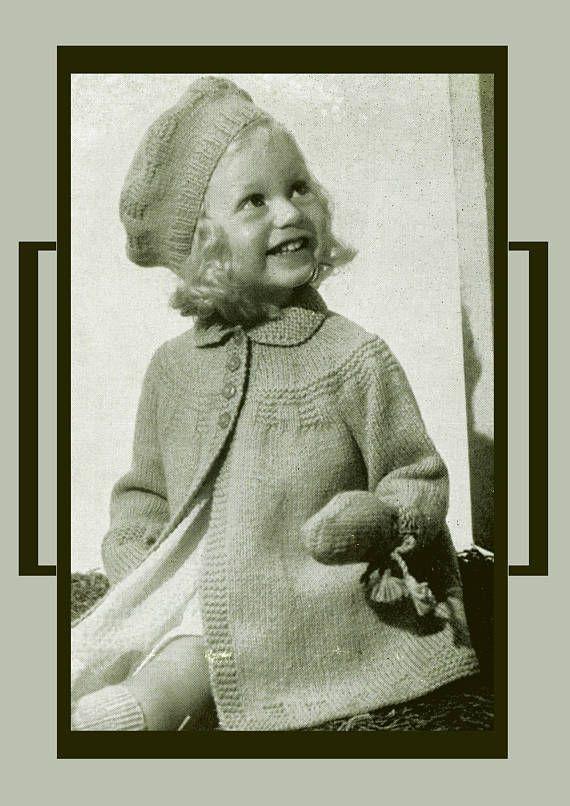 PDF Vintage Knitting Pattern Baby Girl Darling Princess Coat