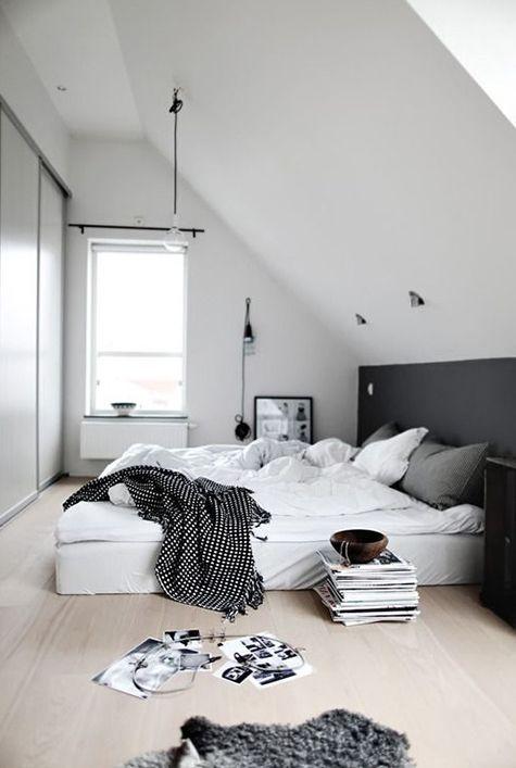 Crisp white, pale wood and charcoal gray, scandinavian eave