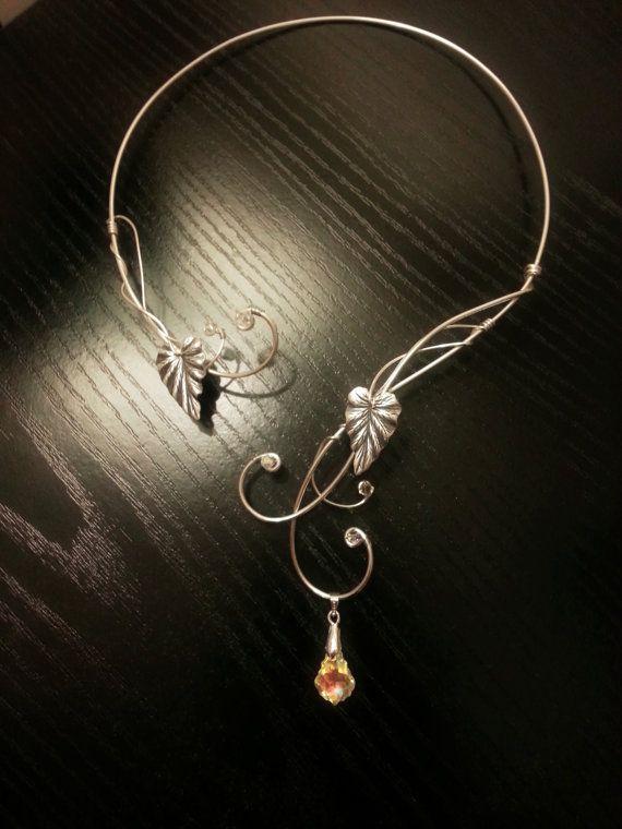 Medieval Renaissance circlet choker silver necklace leaf with swarovski elements Elven