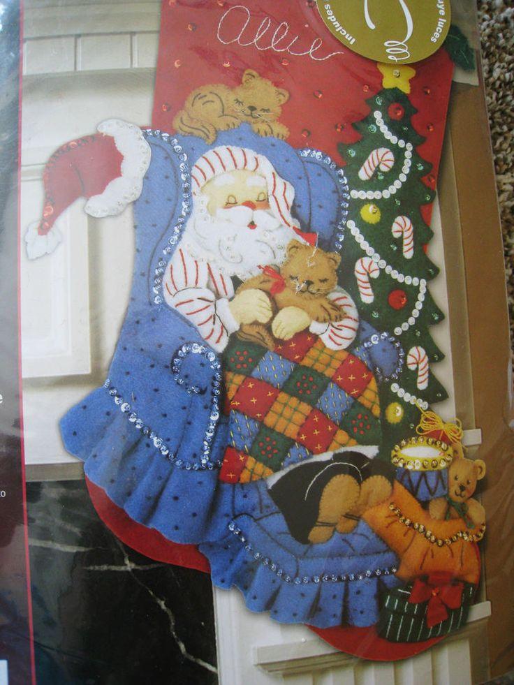 Bucilla Christmas STOCKING FELT Applique Holiday Kit,SANTA'S CATNAP,Lights Up,18 #Bucilla