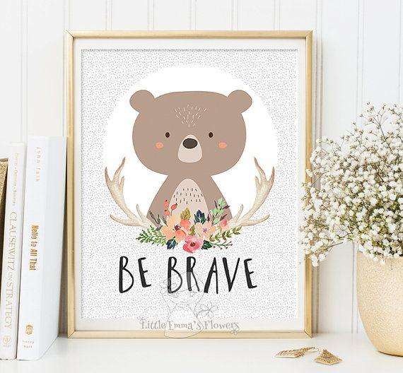Be brave kids decor Printable bear nursery decoration Woodland Nursery wall art print Decor bear illustration printable quotes art 2-114