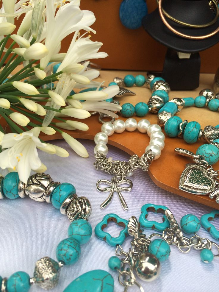 Turquoise and pearl bracelets