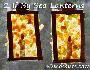 Paul Revere's Ride by by Henry Wadsworth Longfellow and Ted Rand and making Lanterns to hang in the window. 3Dinosaurs.com