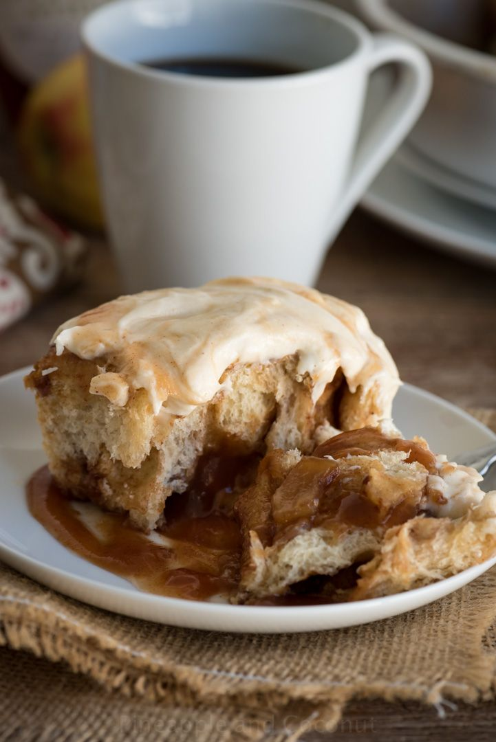 Caramel Apple Butter Cinnamon Rolls with Apple Cider Cream Cheese ...