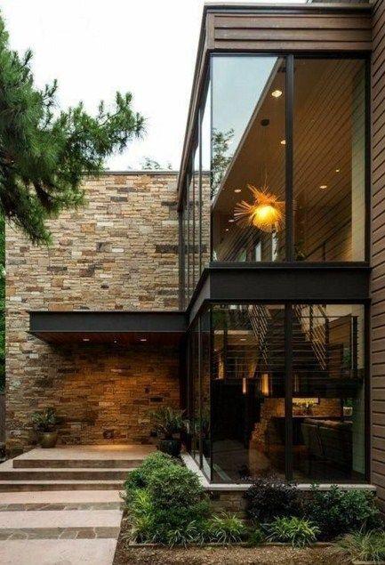 Fachadas de casas de 2 pisos con hall