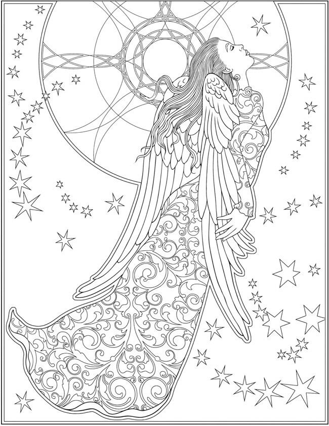 Pin By Janice Bailey On Colouring Pages For Adults Angel Coloring Pages Dover Coloring Pages Coloring Pages