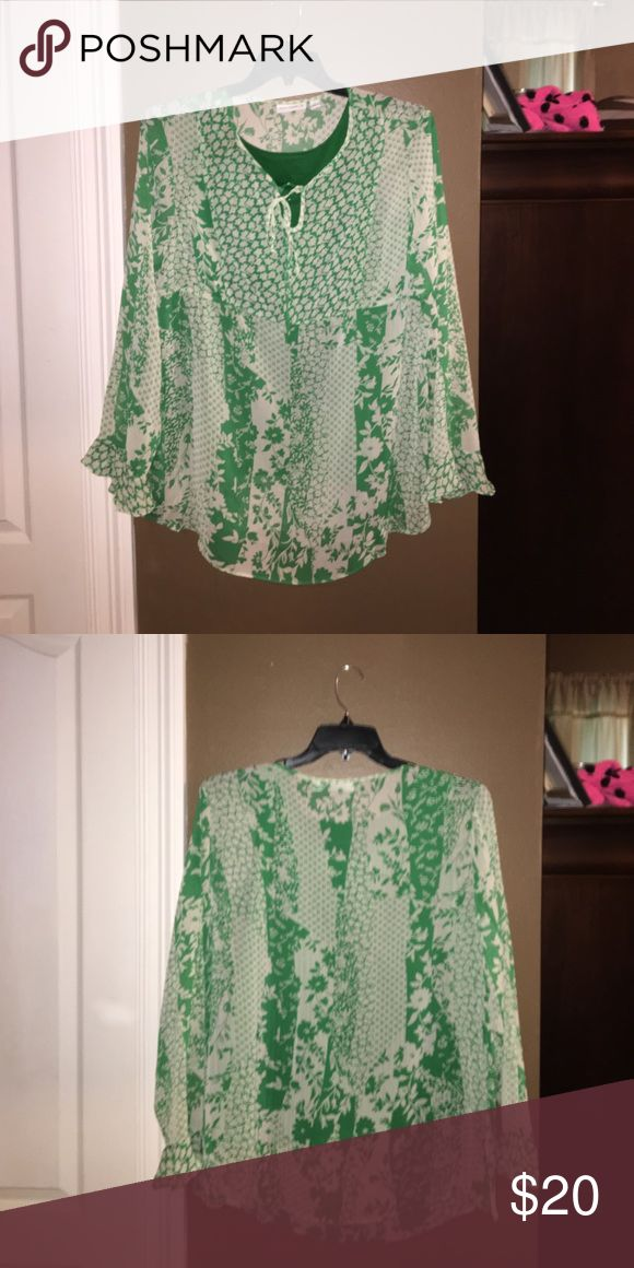 Susan graver polyester blouse with green tank Very comfortable Susan graver long sleeve blouse with green spandex tank underneath for coverage. Perfect for dinners or going out Susan Graver Tops Blouses