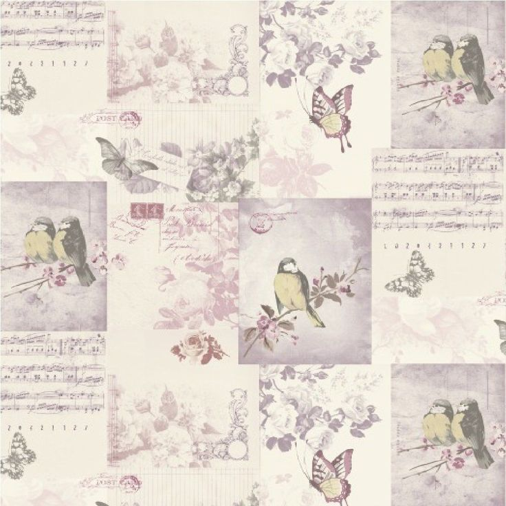 shabby chic vintage bird cage wallpaper mauve blue pink. Black Bedroom Furniture Sets. Home Design Ideas