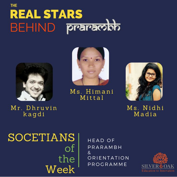 "Silver Oak College Of Engineering & Technology feels proud to inform everyone that the ""SOCETians of the Week "" title for this week goes to the Heads of ""Prarambh"" & ""Orientation"" Programme."