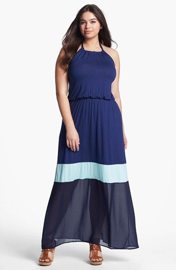 LOVEAPPELLA Colorblock Halter Maxi Dress (Plus) available at #Nordstrom