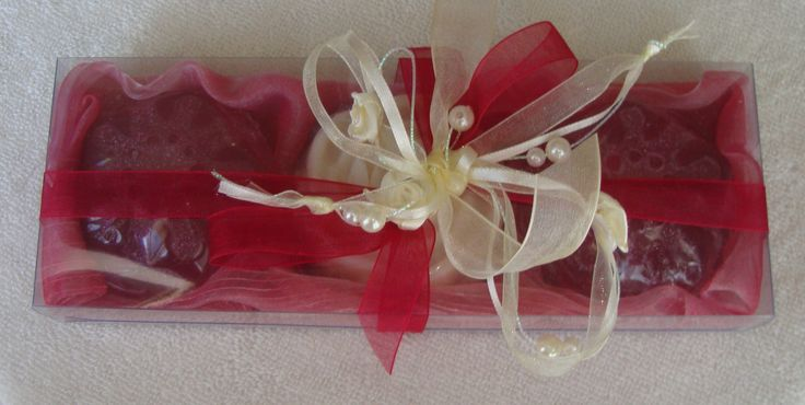 Red-Burgundy-Ecru Elegant Gift Set with Luxury Scented Soaps: Ideal for Summer, Feast, Birthday, Party, Mother's Day, Graduation