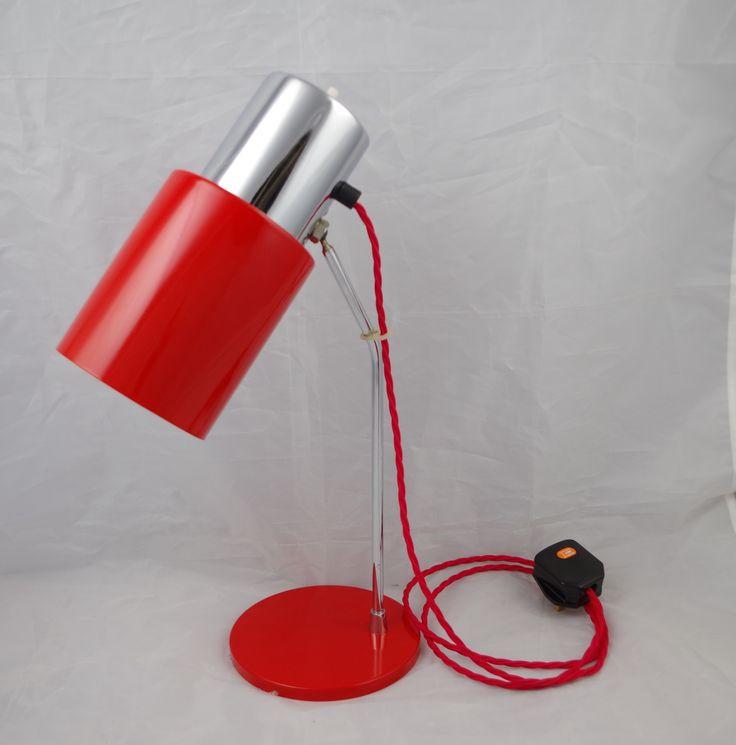 Very Rare Original Napako Desk Light In Red c1960s