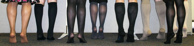 Jobst compression stockings.  Our team wears compression legwear!