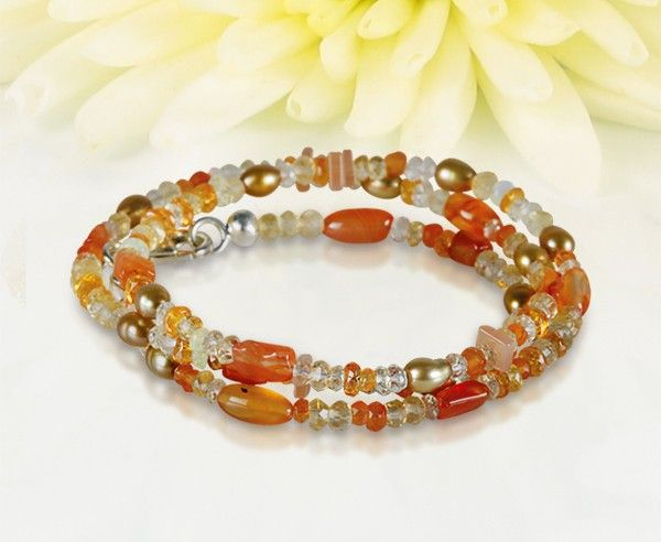 Necklace with semi precious stones: citrine, moonstone, lemon citrine, opal, rock crystal, carnelian, mandarin garnet and fresh water pearls