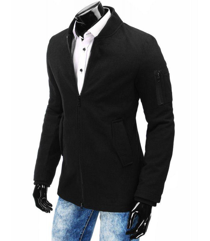 Pánsky čierne zimný kabát
