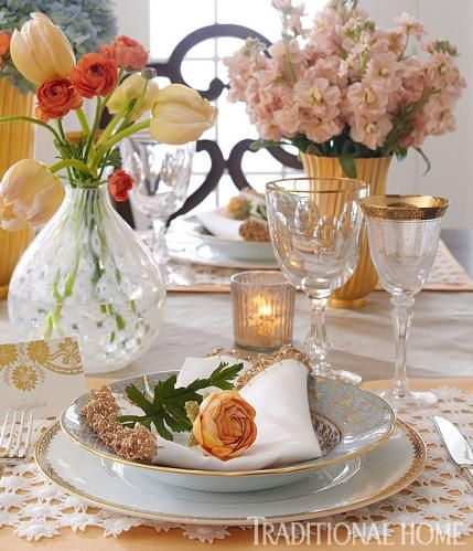Spring table setting are always made when you add flowers