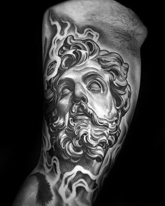 Male With Cool Shaded Black And Grey Roman Statue Tattoo Design