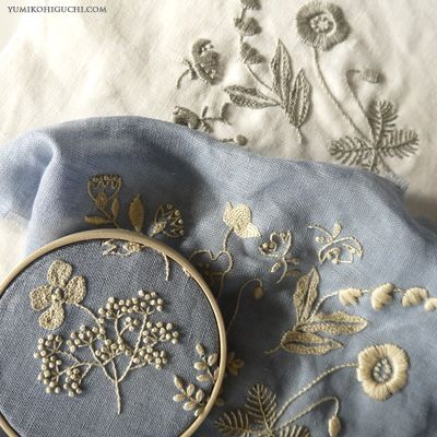 Work in progress 'Flowers of the field' by Japanese embroidery artist Yumiko Higuchi. via the artist's blog