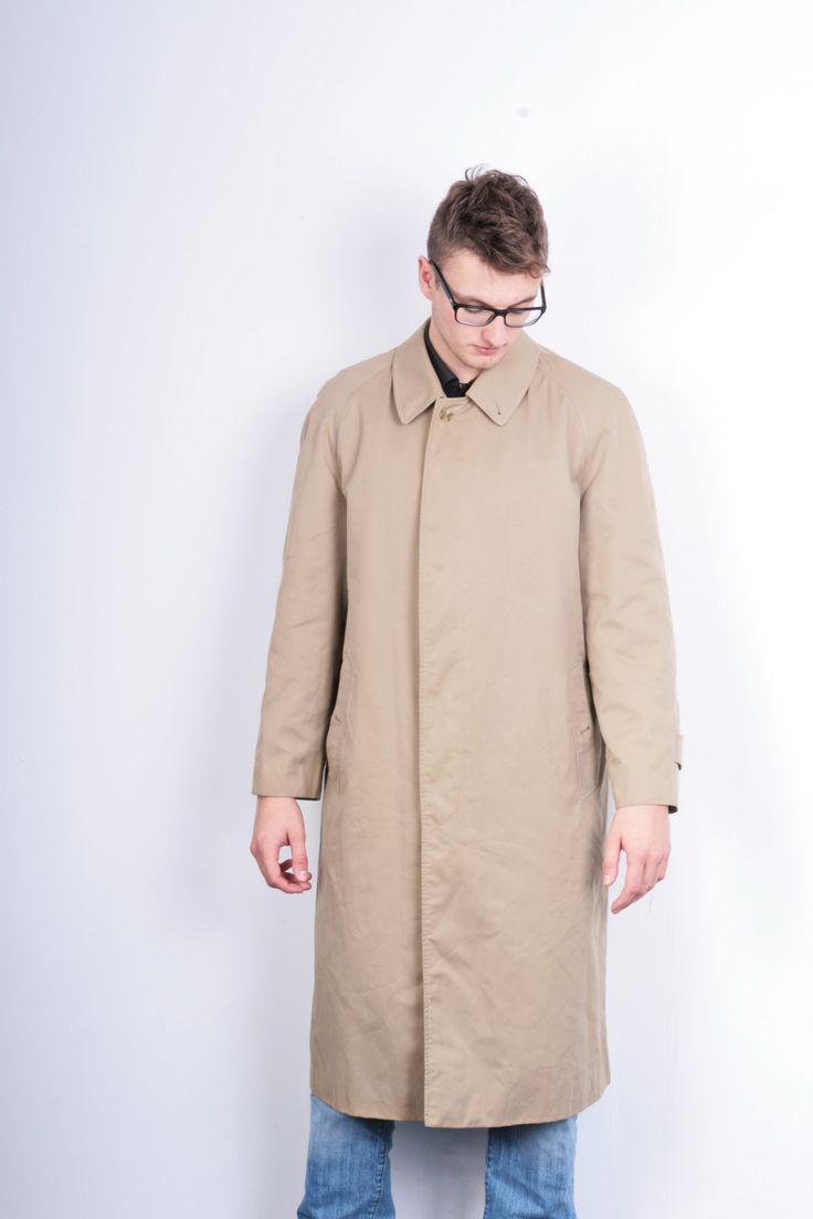 Burberrys Mens L Coat Long Beige England Cotton Vintage Retro Jacket