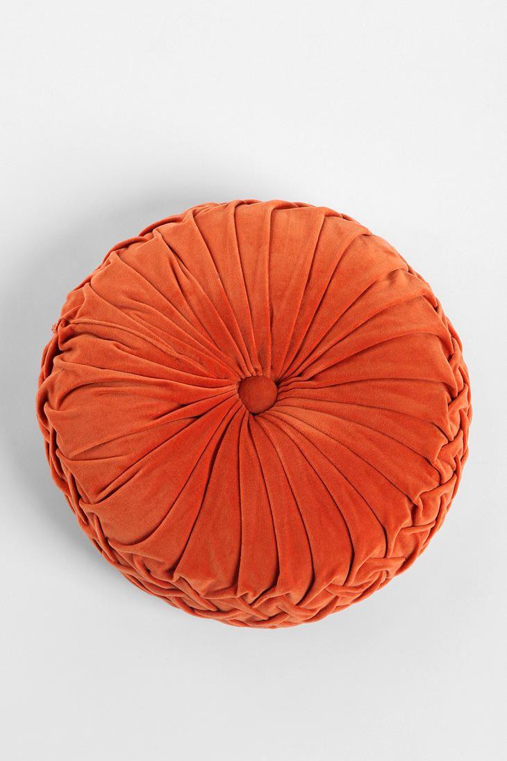 "Round Velvet Pintuck Pillow $34. In orange, yellow, light grey, green, turquoise, navy, dark purple, pink, olive, charcoal, purple. 16"" diameter."