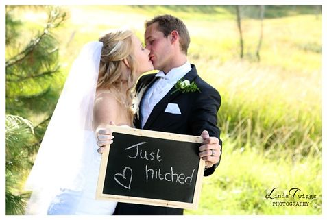 """Just Hitched"" at Ingeli Forest Lodge. Linda Twiggs Photography."