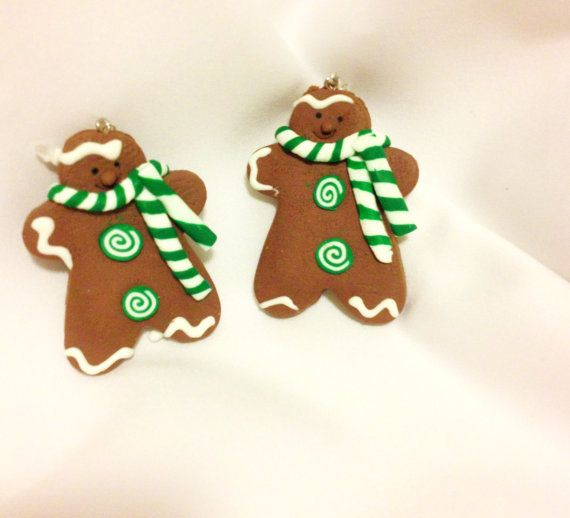 Gingerbread Man Cookie Earrings   Christmas Baking     by junquete