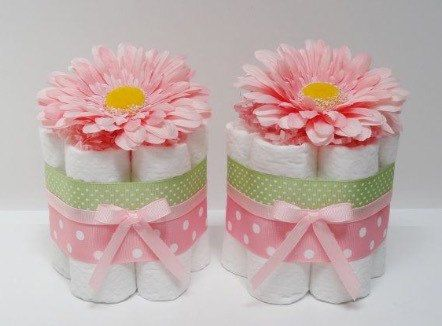 Mini Diaper Cakes Centerpiece by LilShopofCuteness on Etsy                                                                                                                                                                                 More