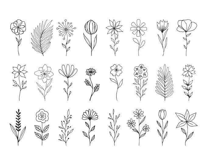 Herbs Branches Flourishes Svg Dxf Png Eps How To Draw Hands Hand Drawn Flowers Floral Doodle