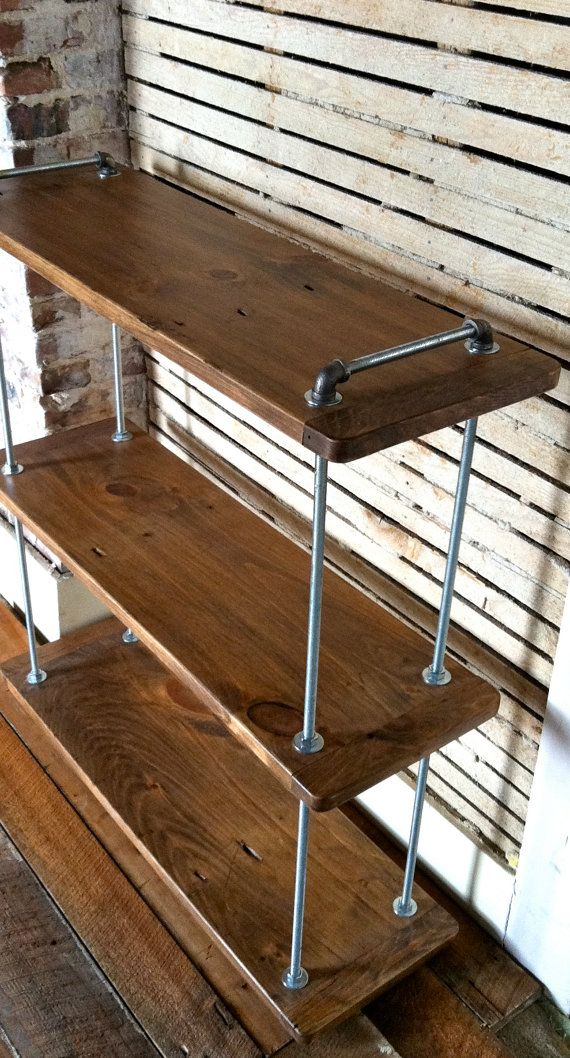 Multi Level Adjustable Threaded Rod Shelf, Reclaimed Wood Floor Standing  Shelf, Wood And Steel, Industrial Farmhouse, Reclaimed Furniture