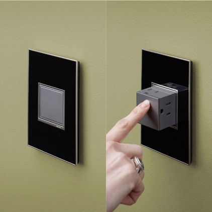 Outlets that pop out and then push back in for a clean look. The snap in system fits in existing electrical boxes for fast easy instal. 32 finishes to choose from. Would be great for a tiled backsplash/kitchen area. The Adorne Collection by Legacy