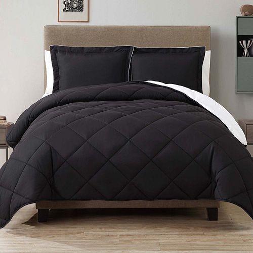 Caribbean Joe Down-Alternative Reversible Twin Comforter Set- Jet Black #CaribbeanJoe
