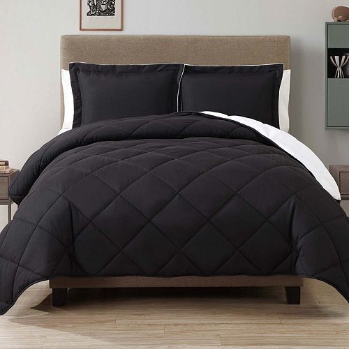 Caribbean Joe Down-Alternative Reversible Twin Comforter Set- Jet Black #CaribbeanJoe