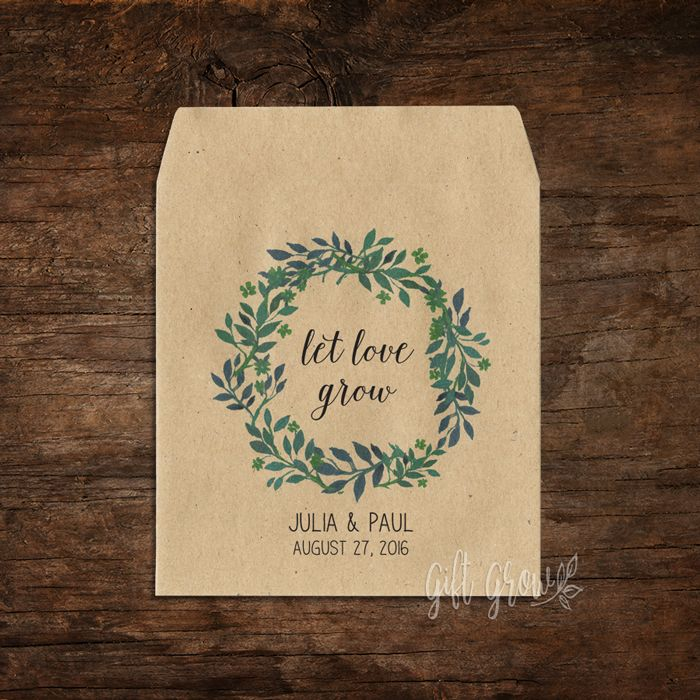 Floral Green Botanical Wreath Wedding Seed Packets