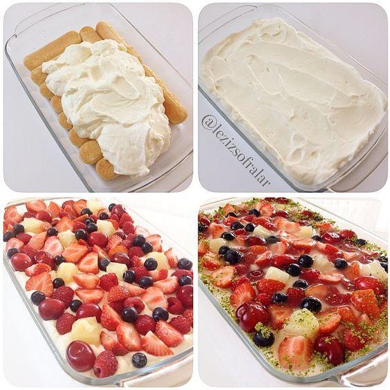 Kolay Tepsi Pastasi  Malzemeler: 1 paket kedidili bisküvisi 1 su bardagi süt  Kremasi icin: 2 paket sivi krema(400 gr) Iki paket krema sertlestirici (bulamayanlar kremsanti tozu ekleyebilirler 2 tatli kasigi kadar) 200 gr quark(süzme yogurt veya labne ) 2 yemek kasigi pudra sekeri  Ayrica: Karisik meyve (cilek,ananas,muz,kivi,ahududu vs..) Üzerine isterseniz tart jölesi Süslemek icin antep fistigi  Yapilisi:Kedidili bisküviler süte bandirilip tepsiye araliksiz dizilir,kremasi icin soguk…