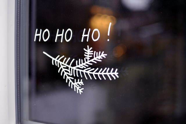 Christmas decoration - white marker drawing on a window (easy to remove with water and a razor blade)