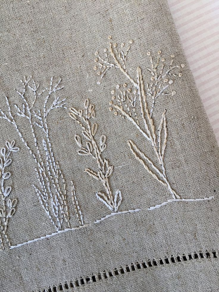 Winter Botanical Tea Towel Hand Embroidery Pattern Kit by countrygarden on Etsy