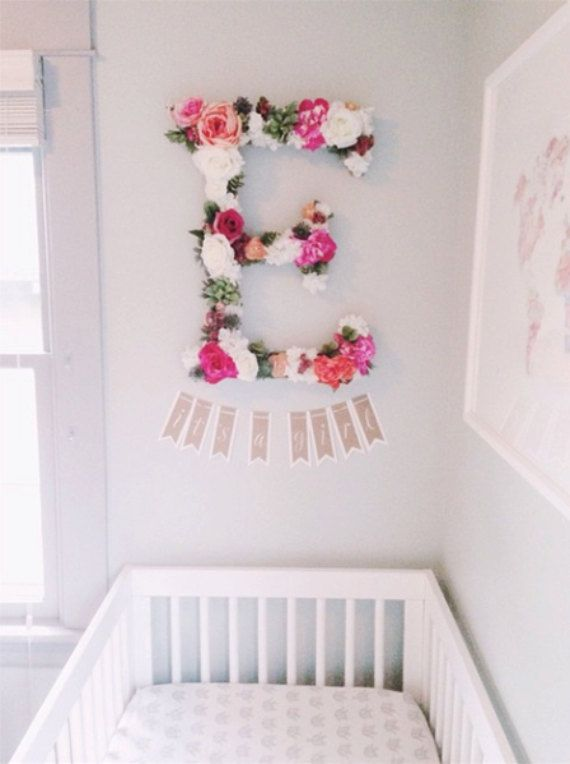 custom floral letters for your nursery. So pretty!