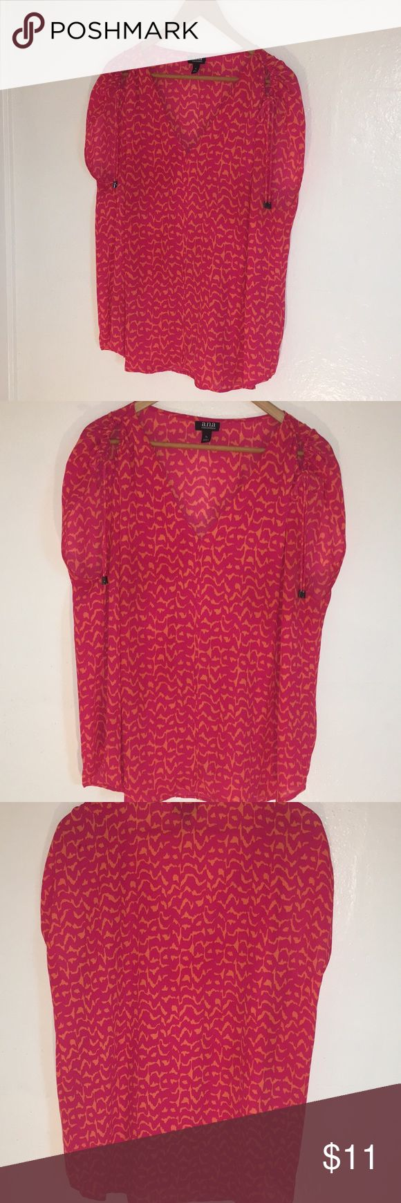 Bright and vibrant blouse Tie sleeve, v-neck blouse loose fitting magenta and orange a.n.a Tops Blouses