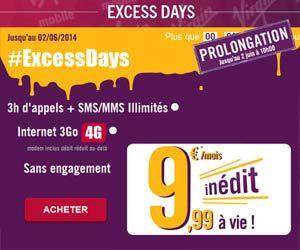 Excess Days de Virgin Mobile : un forfait mobile sans engagement avec 3Go d'Internet en 4G pour 9,99 euros par mois à vie | Maxi Bons Plans
