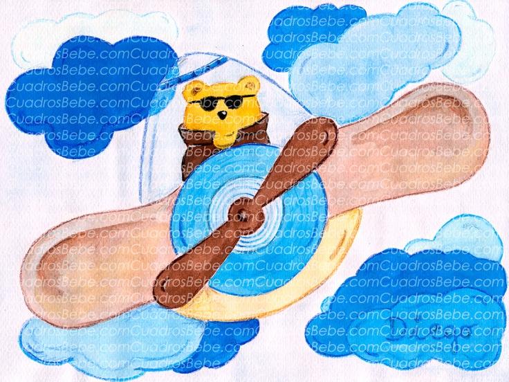 Cuadro bebe profesiones con un osito de peluche piloto con sus gafas de sol y su cazadora de piel pilotando un avión entre el cielo y las nubes, dibujado a mano con pintura y acuarela, para la habitación o cuarto de los más pequeños de la casa, logrando una decoración infantil ideal sobretodo para las niños, en este caso para Diego, cuyo nombre sale escrito sobre una nube