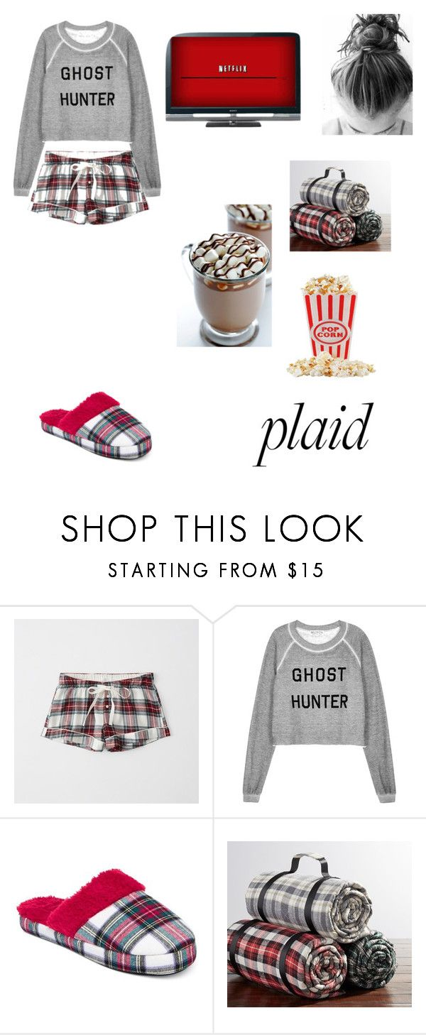 """""""Plaid Pajamas"""" by alexa-1banana-chrissy ❤ liked on Polyvore featuring Abercrombie & Fitch, Wildfox, Charter Club, Sony, Pottery Barn, Fall, plaid, fallfashion and fall2017"""