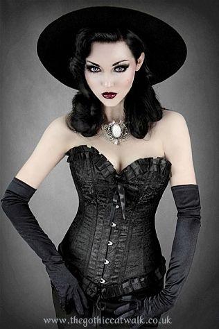 Black Damask Frilled Gothic Corset