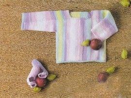 Tricot layette : brassière et chaussons Prunes