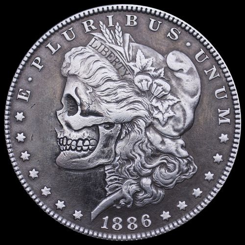 Hobo Nickel Art Morgan Silver Dollar Skull 1 By Seth