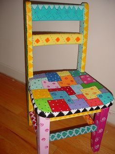 painted chair - i want to turn one of the chairs in the garage into a fun chair for my classroom