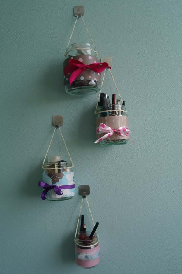 DIY Makeup Organizing Ideas - Makeup Organizer Hanging Jars - Projects for Makeup Drawer, Box, Storage, Jars and Wall Displays - Cheap Dollar Tree Ideas with Cardboard and Shoebox - Wood Organizers, Tray and Travel Carriers http://diyprojectsforteens.com/diy-makeup-organizing