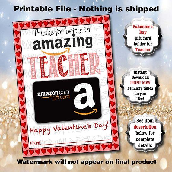Teacher Valentine S Day Gift Card Holder Printable Instant Etsy Valentines Gift Card Teacher Valentine Gifts Teacher Valentine