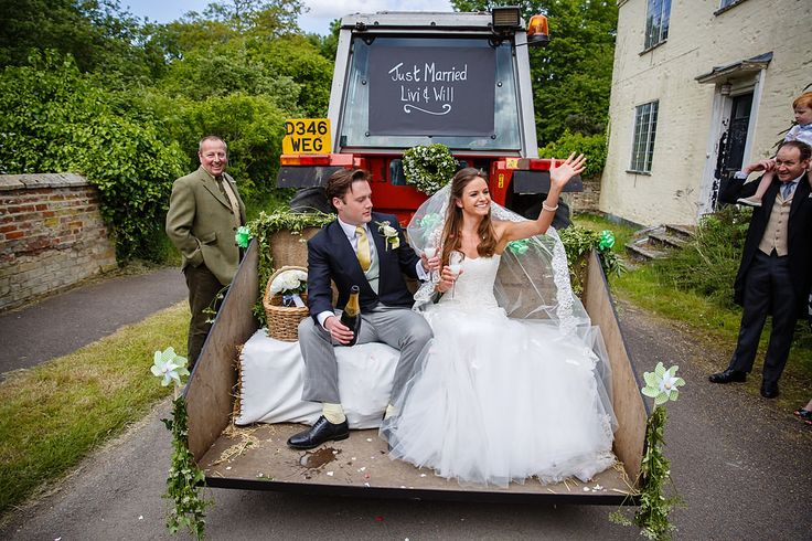 Tractor Wedding Transport | Lace Wedding Dress | Traditional Marquee Reception in the Brides Parents Garden | Blue Colour Scheme | DIY Decor & Flowers | Homemade Naked Cake | images by Kerry Morgan | http://www.rockmywedding.co.uk/livi-will/