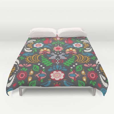 © www.patternpenny.com Folklore Floral-charcoal Duvet Cover society6.com