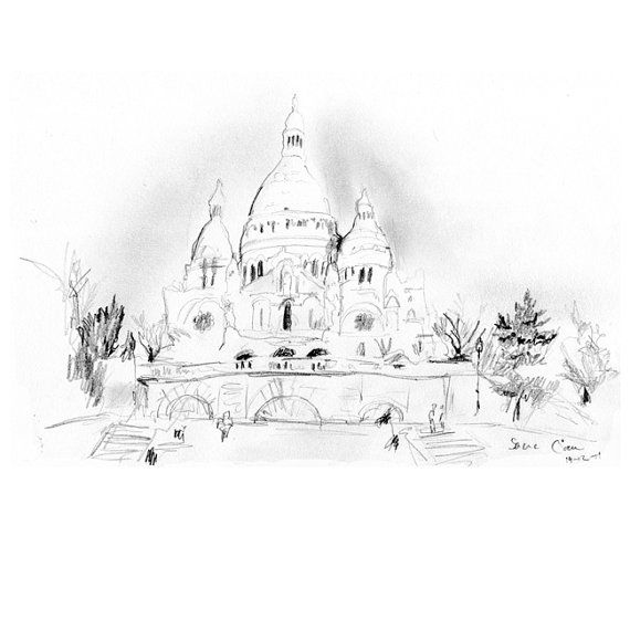 Zen tekening van de Sacré Coeur in Parijs. van Zendrawing op Etsy, €15.00